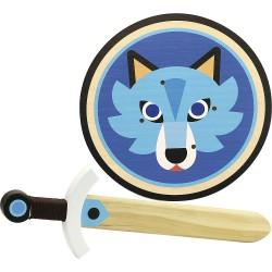Schild mit Schwert Wolf
